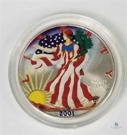 American Eagle Colorized Silver Dollar / Collectors Colorized Silver Dollar