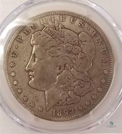 1893-CC US Morgan Silver Dollar PCGS F15 / Nice, original Carson City silver dollar, third party certified by PCGS.