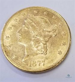 $1877-S US $20 Gold Liberty AU / Almost uncirculated, 0.9675 troy oz. gold
