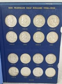 Complete Set of 35 Silver Franklin Half Dollars VF-Unc / All dates and mint marks. Grades are from very fine to uncirculated, 12.5 troy ounces silver content