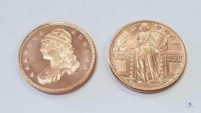 2 -1 oz AUDP Fine Copper Rounds / 2- 1 oz AUDP Copper Rounds