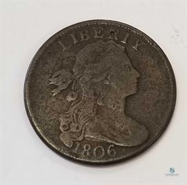 1806 US Draped Bust Large Cent G / Obverse grades good, reverse very good, nice example of very early US large cent