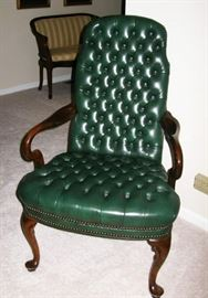 green leather tuffted chair  BUY IT NOW $ 80.00