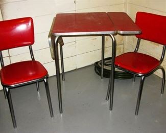 CHROMECRAFT RED AND CHROME FRAME DROP SIDE TABLE AND 2 CHAIRS  buy it now  $ 95.00