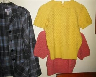 old hand knit sweaters and some Pendelton women clothes