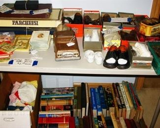 few old games , books and collection of vintage little boy shoes