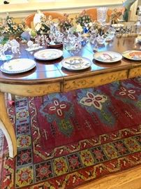 Dining room set, rug & collectibles