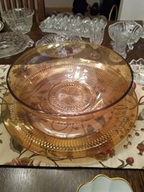 Fabulous Depression Glass Golden Bowl and matching Plate.