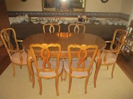 DINING ROOM SET, TABLE AND EIGHT CHAIRS