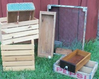 Assortment of wooden boxes.  Some newer, some vintage.  Great pieces for displaying items.