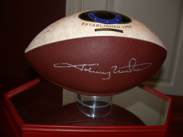 Signed football by Johnny Unitas with paperwork.