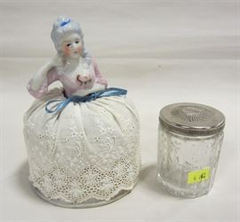 Pin cushion doll and powder bowl
