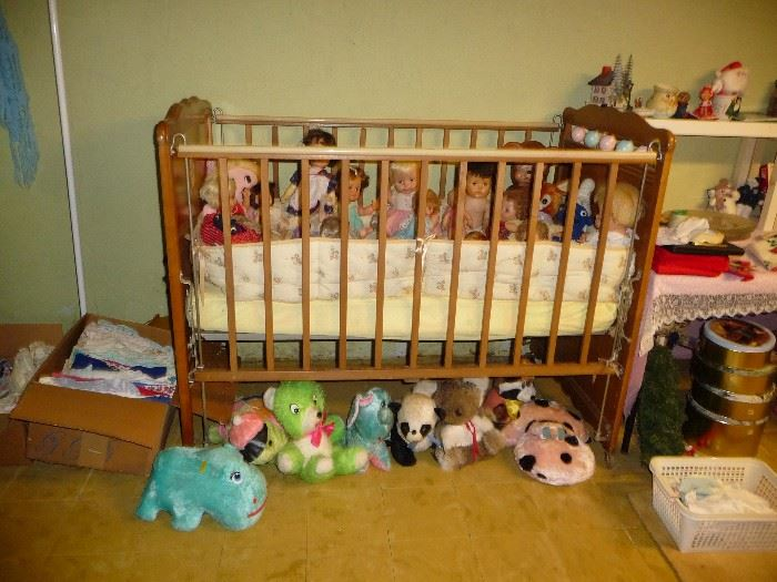 crib / some of the stuffed toys