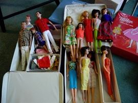 very vintage barbies and lots of clothes
