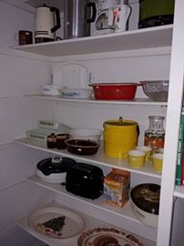 Various Kitchen Items with Vintage Pyrex