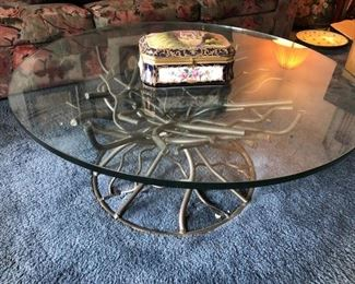 Iron Branch Glass Top Coffee Table
