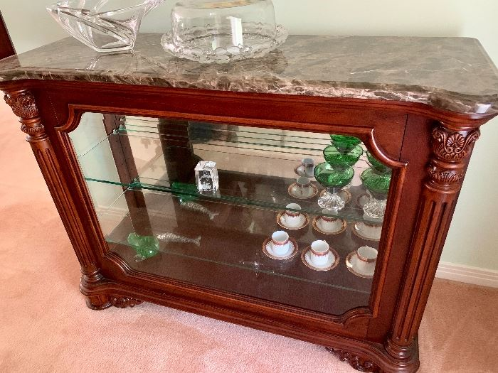 Marble Top Display Cabinet