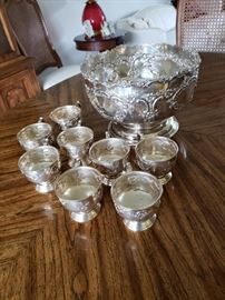 Sheffield punch bowl and cups