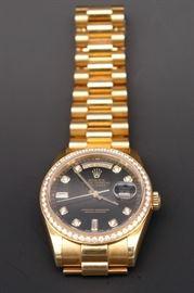 18K Rolex #118348 Presidential Men's Watch with Diamond on Bezel