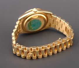 Reverse of 18K Rolex #118348 Presidential Men's Watch with Diamond on Bezel