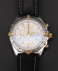 Breitling B-13355 Men's Stainless Watch with Leather Band