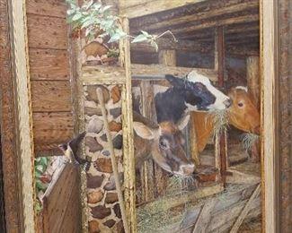 """Weisman Weiler, Cows in Barn, o/b 20"""" x 16"""""""