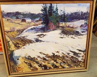 Sigmund Arseth, Late Winter Landscape, watercolor, 1987, 36 x 40