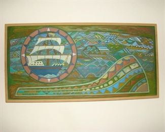 Carved wooden Polychrome Nordic panel