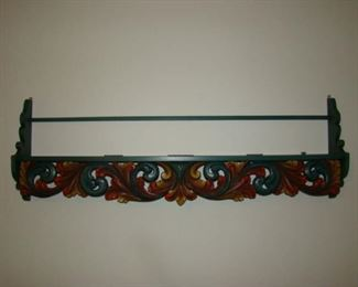 Carved wooden polychrome plate shelf