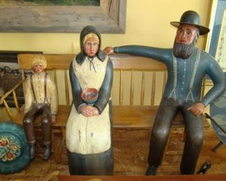 William Jauquet Carved Primitive grouping of Amish Family