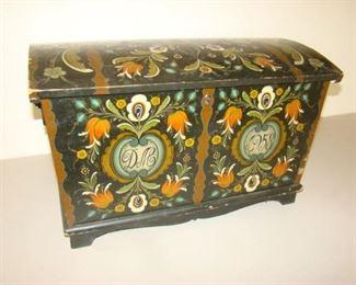 Rosemaling trunk dated 1958
