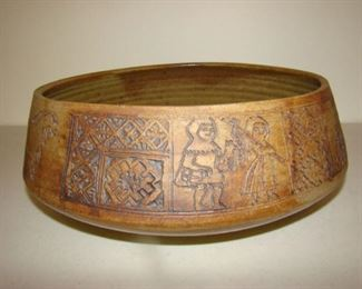Salt glazed ceramic bowl with Norse characters and designs