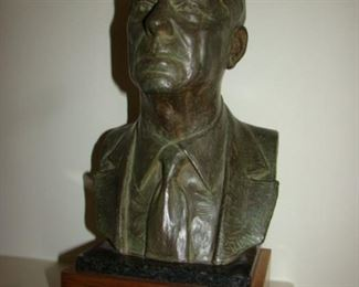 Bronze bust of President Ronald Reagan.