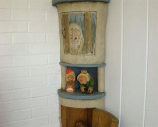 Carved wooden Norwegian corner shelf