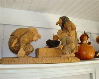 Carved wooden trolls
