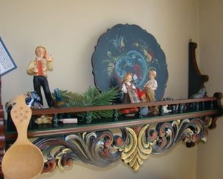 Carved wooden Shelf with figures