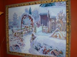 Sigmund Arseth, Winter Barnyard, o/c