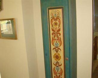 Rosemaling, tall, single door wall cabinet