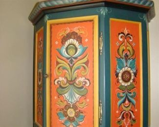 Rosemaling four-panel wall cabinet