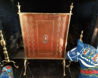 Copper and brass fire screen