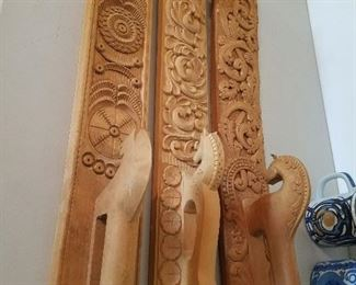 Three Mangle boards with chip carving and relief carving, 20th c.