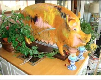 carved wooden painted pig