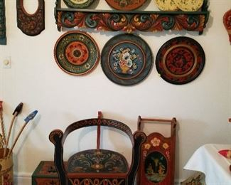Partial selection of rosemaling items.