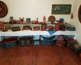 Large selection of Norweigan objects and Rosemaling boxes, trunks and platters.