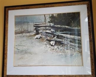 """Gerhard Miller, Winter on Maple Grove Road, watercolor, 20"""" x 26"""" sight"""