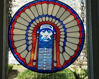 Chief Illiniweck hanging stained glass window.