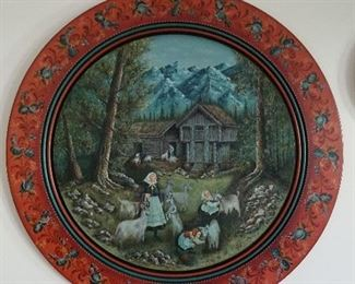 Suzanne Tofty painted wooden platter, 1984