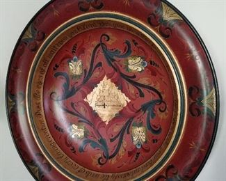 """Enid Grindland , 30""""  red & gold painted wooden bowl, with calligraphic prayer around inside border."""