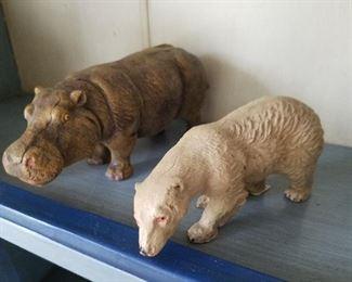 Hippo, Polar Bear carved toys