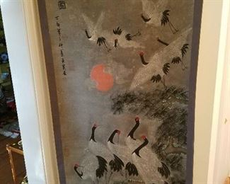 Oriental scroll painting of cranes